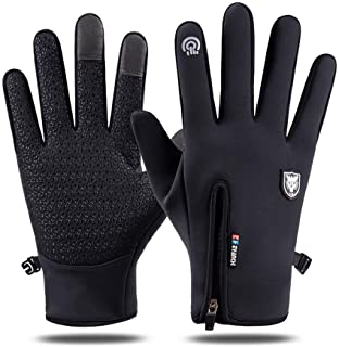Touch Screen Windproof Cycling Gloves - Waterproof Full Finger Cold Proof Silicone Anti-slip Winter Driving Gloves for Me...