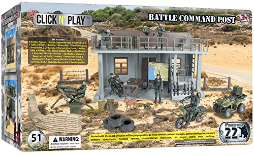 Click N' Play Military Multi Level Command Center Headquarters 51 Piece Play Set With Accessories.