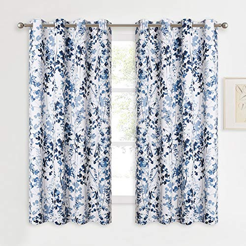 KGORGE Printed Blackout Curtains with Pattern - Sunlight / UV Ray Reducing Grommet Top Window Draperies, Elegant Watercolor Foliage Patterned Art Gallery / Salon Decoration (Blue, W52 x L63, 2 Pcs)
