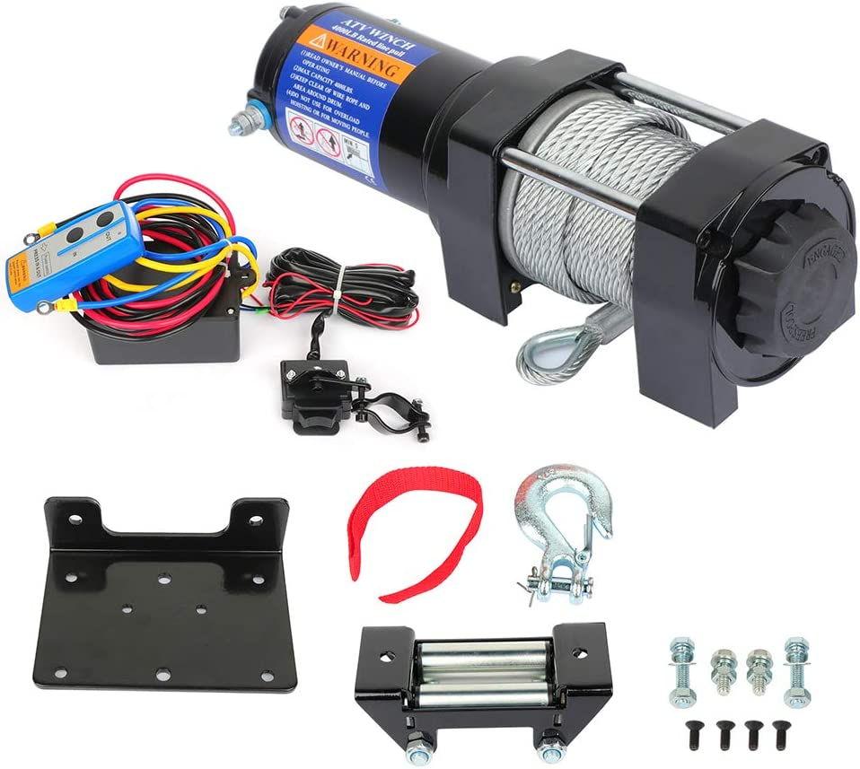 cciyu famous Electric Winch 100% quality warranty 12V 4000 lbs Towing ATV UT for Black