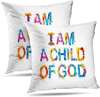 Tyfuty Throw Pillow Covers, Pillowcases I Child God Prayer Letter Child God Banner Believe Card Cushion Use for Living Room Bedroom Sofa Office 18 x 18 inch Set of 2, I Child God Prayer