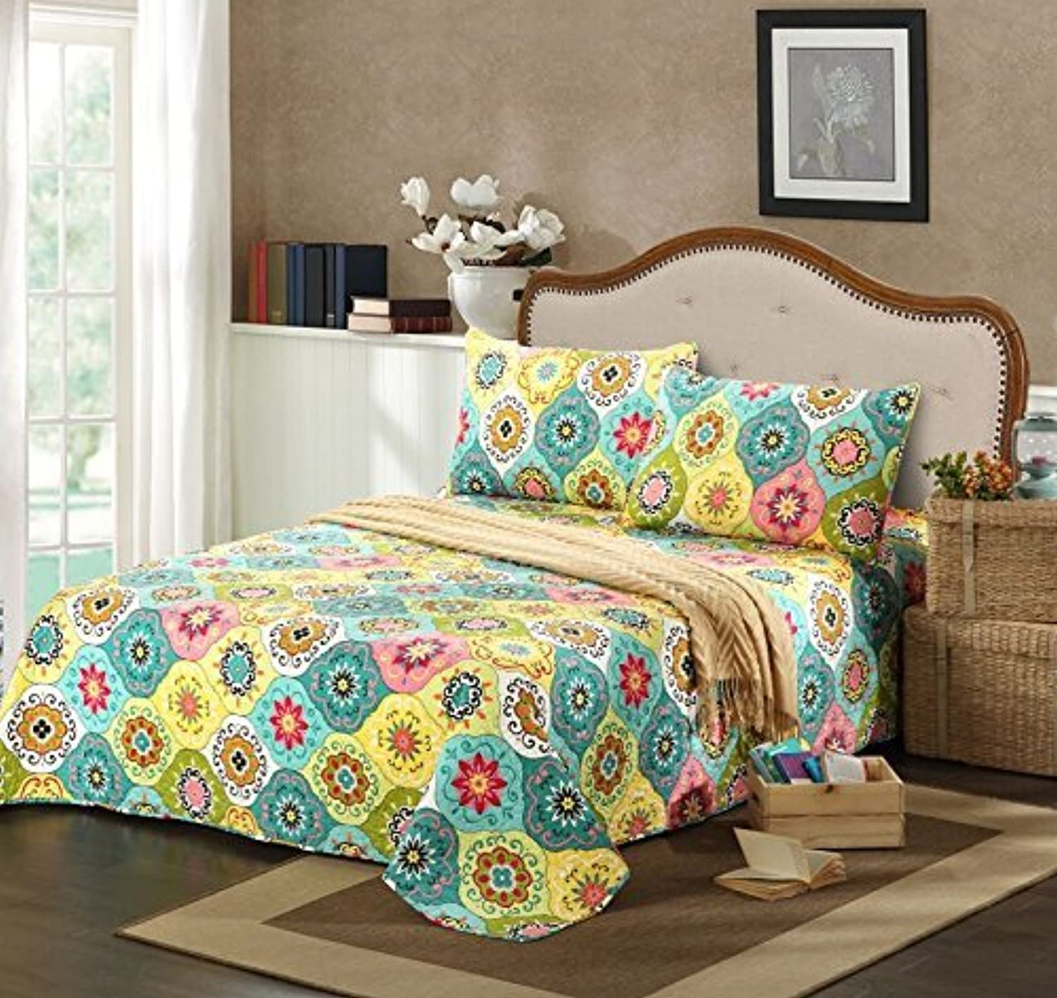 Tache Home Fashion SD3199-Cal King Tache 3 Piece Geo Multi Spring Flower Reversible Bedspread Quilt Set, California