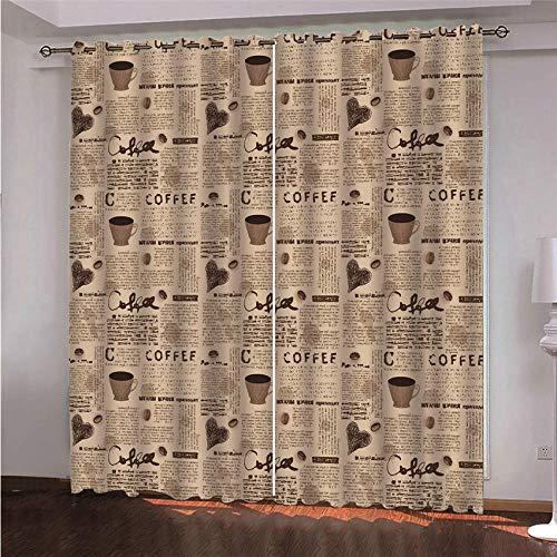 BLZQA Blickdichte Vorhänge Ösenvorhang Kaffeezeitung Verdunkelungsvorhänge geeignet für Schlafzimmer Wohnzimmer Schalldämmung Thermisch energiesparende Vorhänge 75 cmx 166 cm x 2