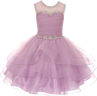03be62e8d755 Cinderella Couture Little Girls Lilac AB Stone Adorned Charmeuse Tulle  Organza Easter Dress 4-6