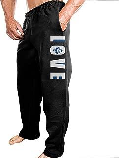 TONGY Men's CSU Pueblo Love Vertical Colorado State University Soft Leisure Fashion Sweatpants Leisure Wear Black