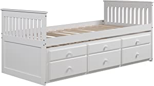 Rhomtree Storage Twin Bed with Trundle and Drawers Wood Daybed Captain's Bed Bedroom Furniture for Kids Teens Guests (White)