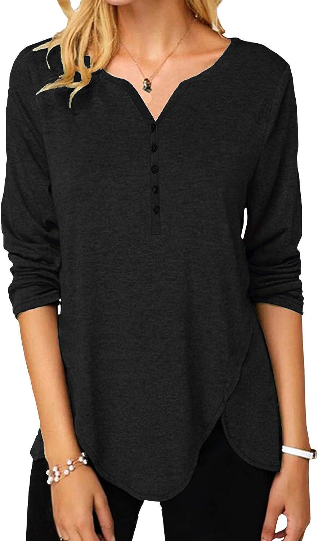 Vinlari Women Casual Tops Button Up Shirts Long Sleeve Blouses V Neck Tunic Henley T-Shirts