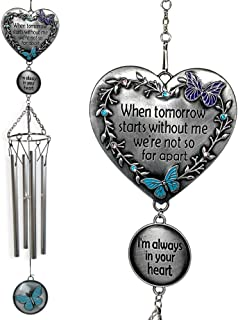 BANBERRY DESIGNS Memorial Windchimes Condolence - When Tomorrow Starts Without Me I'm Always in Your Heart Saying - Heart and Butterfly Design Garden Wind Chime - in Loving Memory Chimes