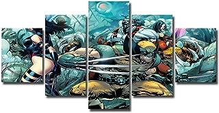 5 Panels X Men Canvas Art Marvel Wolverine X-Men Framed Ready to Hang Wall Art Canvas Print Home Decor