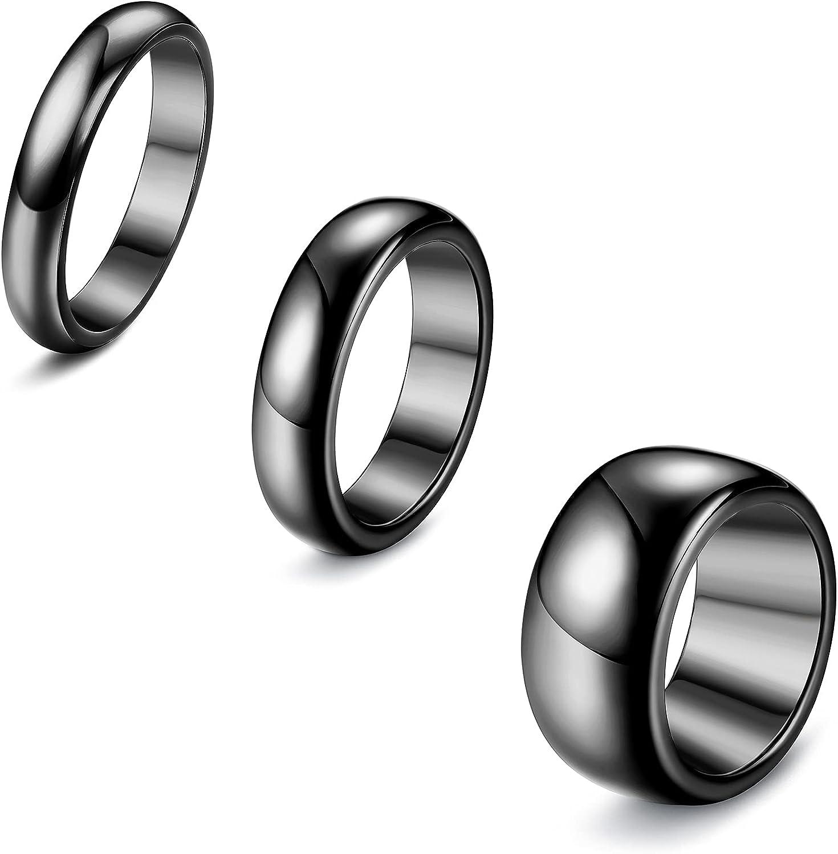 ORAZIO 3Pcs Hematite Rings for Men Women Black Stone Magnetic Rings Absorb Negative Energy Ring Anxiety Balance Magnet Ring Genuine Hematite Ring Set