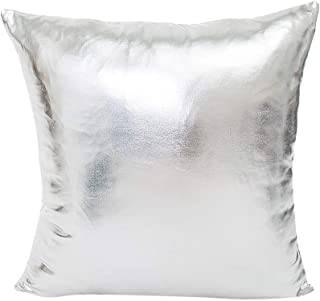 Wokasun.JJ Metallic Color Party Decoration Pillowcase, Square Sofa Waist Throw Cushion Cover Home Decor Pillow Cover Living Room Removable Washable (Silver, 18 x18 inch)