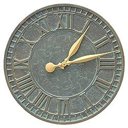 16 in. Wall Clock in Bronze Verdigris