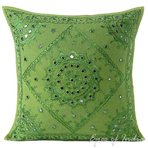 Eyes of India - Espejo Bordado Sofá Decorativo Manta Almohada Cojín Funda Bohemio Adorno Bohemio Elegante de Colores Indio Hecho a Mano Cubierta - Verde, 20 X 20 in. (50 X 50 cm)