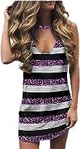 WHZXYDN Zomer dames bedrukte luipaardprint V-hals mouwloos T-shirt jurk