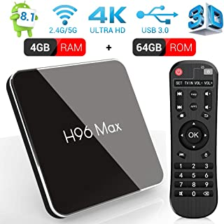 Android 8.1 Smart TV Box, H96 MAX X2  4GB RAM y 64GB ROM TV Box con Amlogic S905X2 Quad-Core, Soporte 2.4G/5.8G Dual WiFi  BT4.0  HDMI2.1  USB3.0
