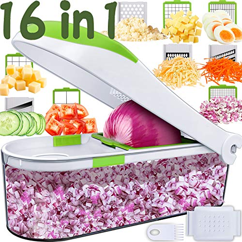 Pro 16 In 1 Vegetable Chopper- Onion Chopper Dicer-No More Tears-Peeler Chopper Salad Chopper Kitchen Vegetable Spiralizer Vegetable Slicer Egg Slicer Cheese Grater