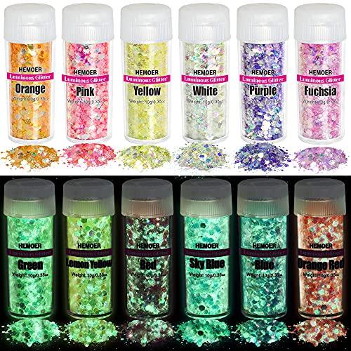 HEMOER Brillos Corporales - Luminosas Brillos, 12 Colores Cosméticos Iridiscente Glitter Para Uñas, Sombra de Ojos, Festival Purpurina, Cara Maquillaje Pelo y Manualidades Brillante Decoración