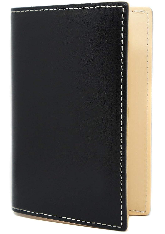 極上イタリアンレザー 名刺入れ バイカラー カードケース 大容量 ブラック ME0311_c1