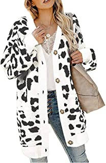 Women Leopard Print Open Front Button Down Sweater Cardigan with Pockets