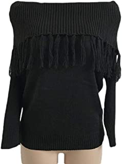 Womens Casual Off Shoulder Tassel Long Sleeve Pullover Knitted Loose Sweater Tops
