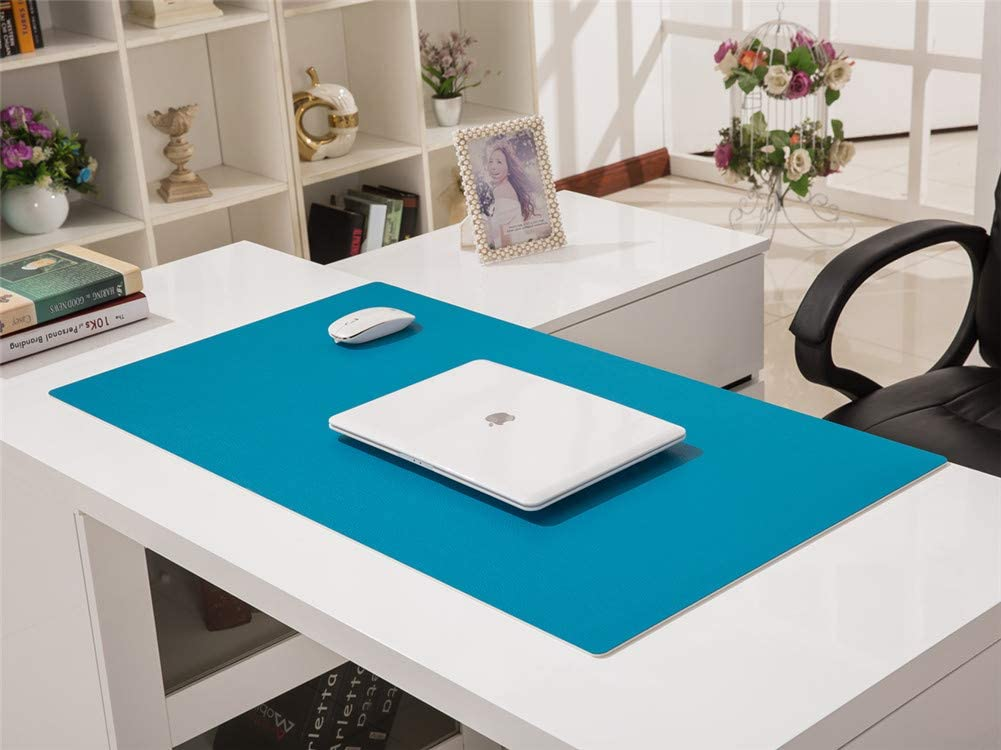 LL-COEUR Multifunctional Office Table Mat Leather Computer Desk Pad Waterproof Mouse Pad 3.5mm Orange, 1400 x 600 x 3.5 mm