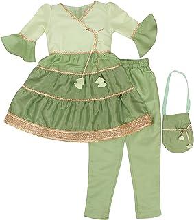Cutecumber Girls Silk Embellished Green Ethnic Set with Potli Bag. CC5225AB-GREEN