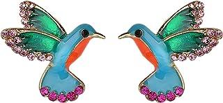 Just Follow Fashion Rhinestone Birds Stud Earrings for Women Vintage Blue Enamel Earring Fashion Jewelry