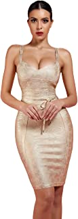 Maketina Women's Spaghetti Strap Bodycon Party Bandage Dress with Belt Detail