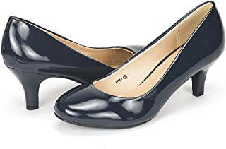 navy blue patent leather pumps