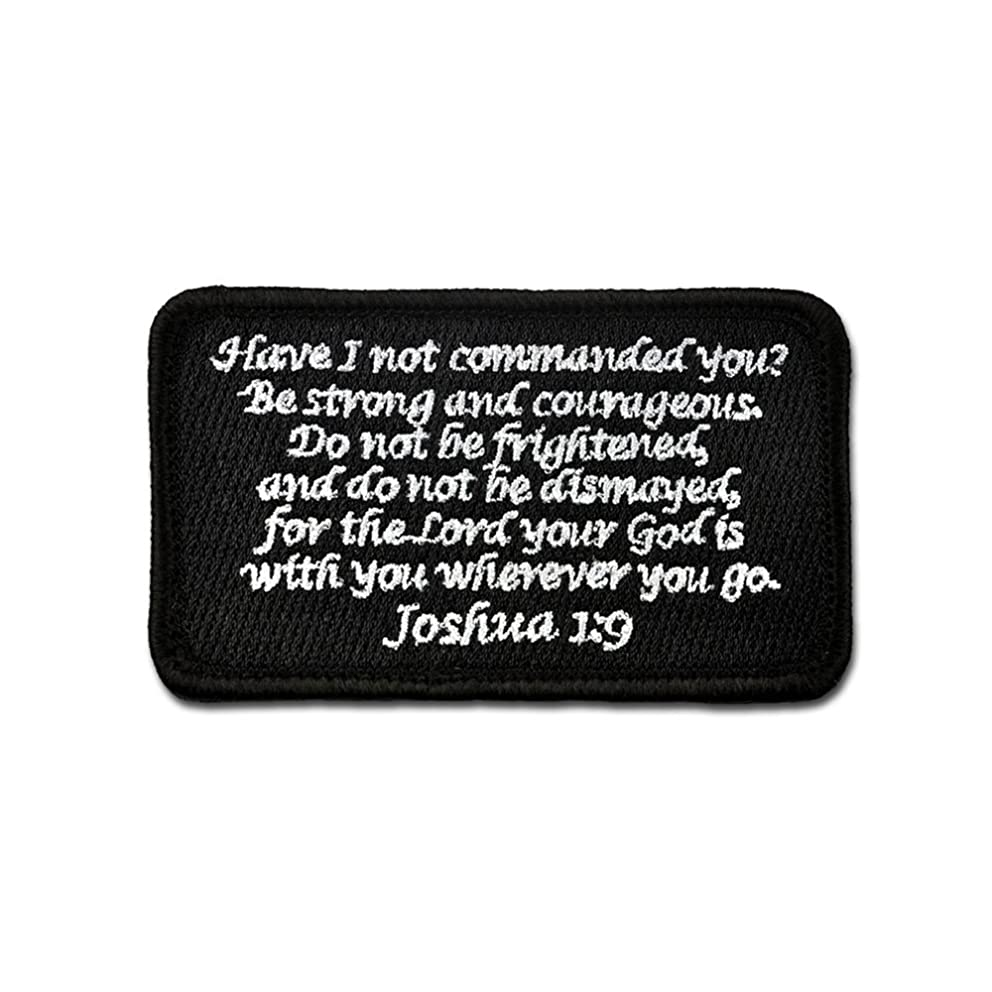 Bastion Tactical Combat Badge Military Hook and Loop Badge Embroidered Morale Patch - Joshua 1:9 (Black)