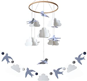 Sorrel + Fern Baby Crib Mobile Birds in The Clouds w/Garland Nursery Decor Baby Shower Gift