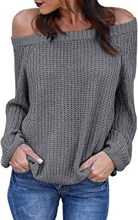 Dellytop Womens Off The Shoulder Sweaters Long Puff Sleeve Cable Fall Warm Pullovers Knit Jumper