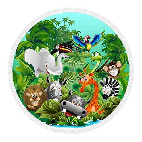 Cinta de playa redonda 100 % microfibra con flecos, diámetro 156 cm, fabricada en Italia, ecológica Friendly, Roundie, Toalla grande y multiusos, diseño de niños zoo, jungla