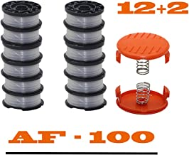 """EYYH  String Trimmer Replacement Spool Line  30ft 0.065""""Autofeed Replacement Spools Compatible with Black+Decker AF-100 String Trimmers (12 Spools, 2 Trimmer Cap,2 Spring)"""