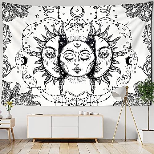 PPOU Tapiz de Mandala Indio Perla Elefante Arte Colgante de Pared Sol y Luna meditación Chakra tapices para decoración de Sala de Estar A7 150x200cm