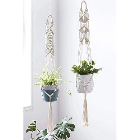 pepme Macrame Plant Hanger, Vertical Flower Pot Holder Ceiling Mount Handmade Hanging Planter for Indoor, Living Room, Balcony, Gardening (Set of 2 Designs)