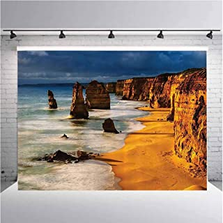 Seaside Decor Collection Photography Background Cloth Twelve Apostles Australia Sunset Great Ocean Road Coast Cliff by Sea Picture for Photography,Video and Televison 5ftx4ft