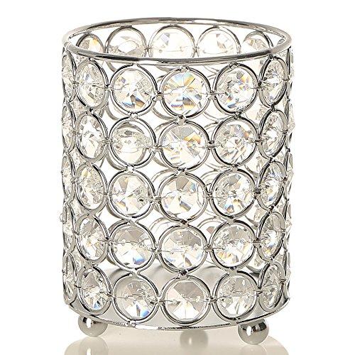 VINCIGANT Kristall Kerzenhalter Silber Kerzenständer Vintage Zylinder Teelicht Kerze Inhaber für Hochzeitstag Geschenke Bürotisch Dekoration