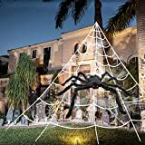 """3pcs 200'' Halloween Spider Web 30"""" Halloween Spider Decorations Stretch Cobweb Fake Spider Giant Spider Web for Indoor Outdoor Halloween Decorations Yard Lawn Home Costumes Party Haunted House Décor"""
