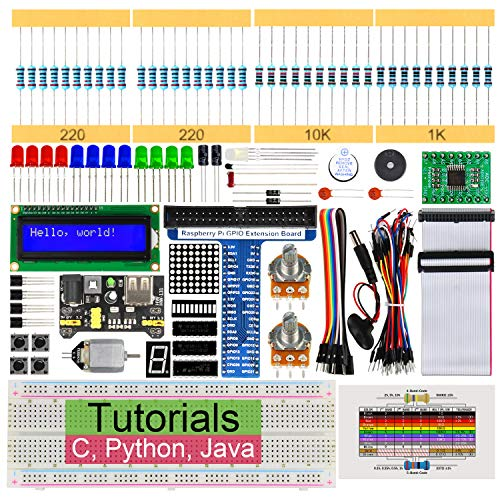 Freenove Super Starter Kit for Raspberry Pi 4 B 3 B+ 400, 285-Page Detailed Tutorials, Python C Java Code, 164 Items, 38 Projects, Solderless Breadboard