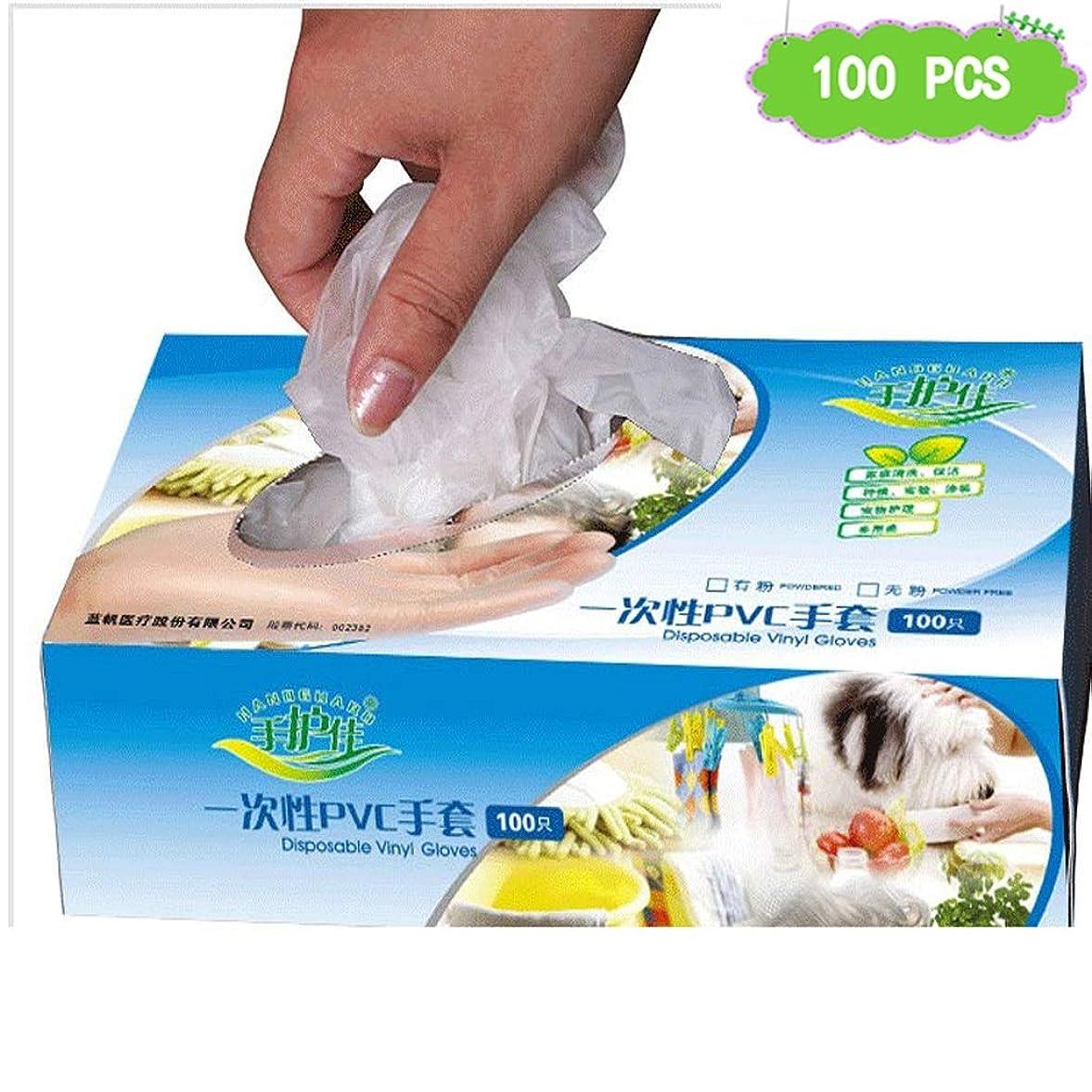 集中パンフレット政治的ビニール試験使い捨て手袋ゴム研究所労働保険PVC手袋検査保護実験、ビューティーサロンラテックスフリー、パウダーフリー、両手利き、100個 (Size : M)