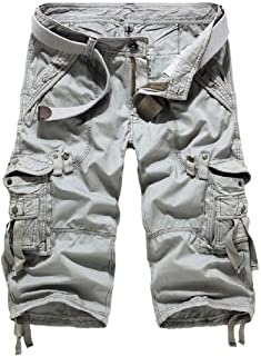 DressU Men's Multi-Pocket Beachwear Washed Cargo Pants