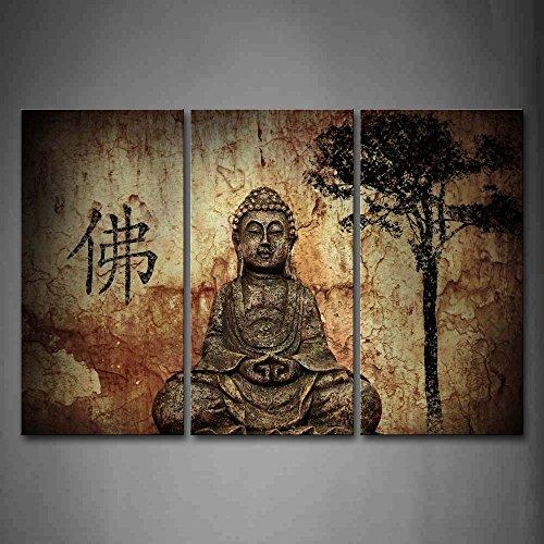 First Wall Art Buddha Bilder Leinwand 3 Teilig Bild Religion Wandbilder Wohnzimmer Moderne für Schlafzimmer Dekoration Wohnung Home Deko Kunstdruck