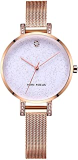 Women's Gold Watch Mini FOUCS Waterproof Star Watch Slim Dial Quartz Lady Watch with Gold Steel Mesh Band