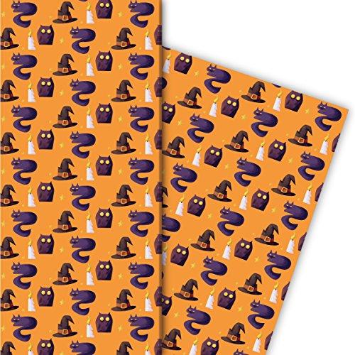 Kartenkaufrausch Halloween Geschenkpapier Set mit Eulen und Katzen als edle Geschenk Verpackung, Designpapier, scrapbooking, 4 Bögen, 32 x 48cm Dekorpapier, Musterpapier zum Einpacken