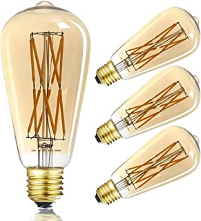 LEOOLS LED Amber Edison Bulb Dimmable 12W, 2500K Warm White,1200LM, 100W Equivalent, E26 Edison Style Vintage LED Filament...
