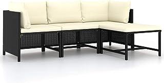 Festnight Sofás de Jardín Exterior | Sofa Exterior Terraza | Lounge Exterior Set de Muebles con Cojines,Ratán Sintético,Muebles de Jardín para Jardín Balcón Patio Piscina Terraza (4 Piezas,Negro)