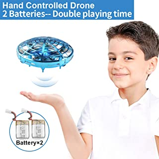 Flying Toys Drones for Kids Mini Drones for with 2 Rechargeable Batteries Hand Operated Flying Ball Drone Toys with 2 Speed and LED Light for Kids and Adults, Small Drones for Boys and Girls, Blue