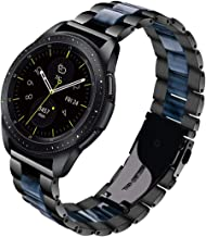 V-MORO for Gear Sport Bands/Galaxy Watch 42mm Band, 20mm Black Stainless Steel Replacement Strap with Blue Resin Bracelet for Samsung Gear Sport Smartwatch R600/Galaxy Watch 42mm R810