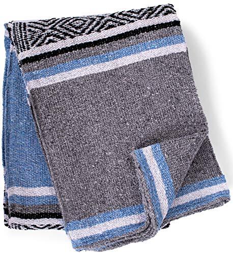 Echte mexikanische handgewebte Decke, Premium-große schwere Falsa-Decke, Serape- & Yoga-Decke, Stranddecke, Überwurf, Picknickdecke (traditionell, Cielo)